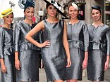 Amber Le Bon heads up a group modeling the outfits of Royal Ascot's 2013 Dress Code Assistants