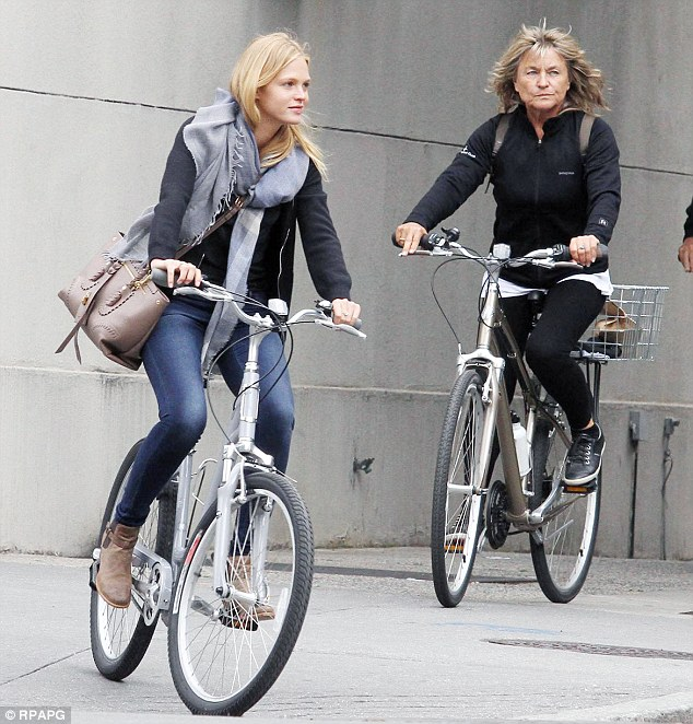 Mom on bike: Leo's mother Irmelin, right, was spotted on a bike in June 2012 in New Orleans with her son's then-girlfriend Erin Heatherton
