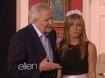 Ooh la la! Jennifer Aniston dresses up as a sexy French maid as she joins her legendary father John Aniston for special soap opera spoof