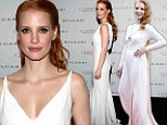 If it ain't broke: Jessica Chastain takes the plunge in a low-cut white gown after wearing similar shade to showcase stunning jewels at screening of Cleopatra