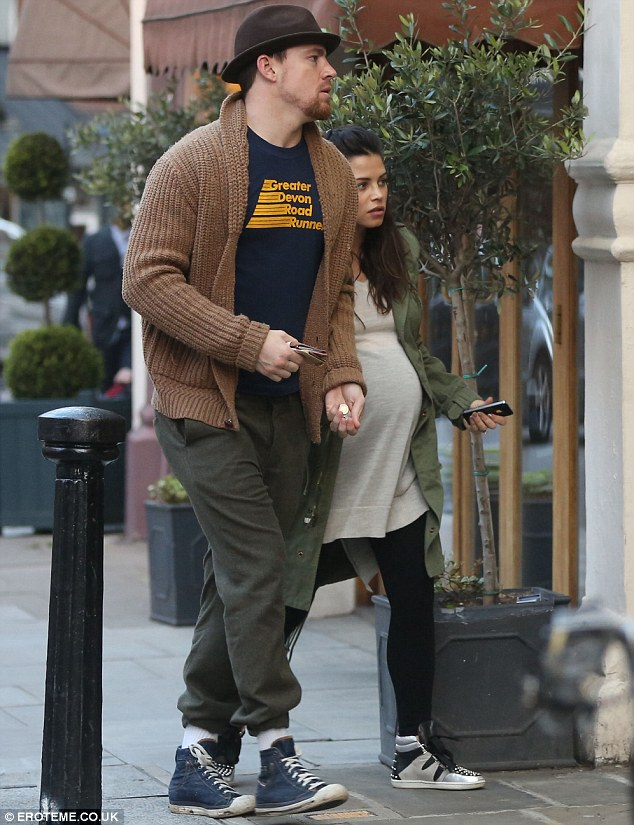 Movie date: Pregnant Jenna Dewan-Tatum showed off her bump in a jumper dress as she enjoyed a trip to the cinema in London with husband Channing on Monday