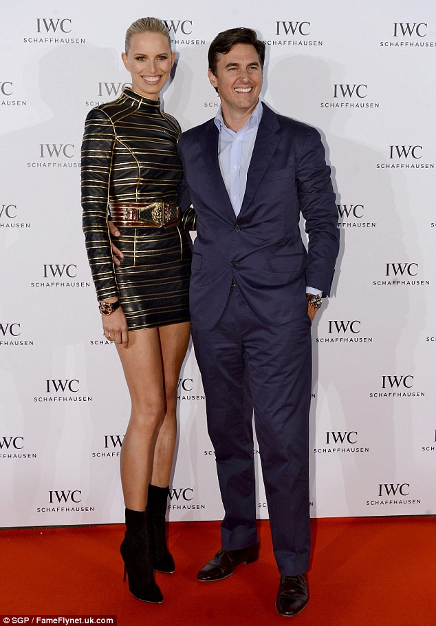 Stealing the show: Karolina stood out the night before in a black and gold minidress as she posed with her husband at the For The Love Of Cinema event