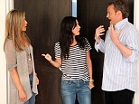 Friends reunion: Jennifer Aniston, left, Courteney Cox, center, and Matthew Perry, right, teamed up to promote Jennifer's appearance on The Ellen Show