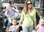 The Sex and the City star walked their three-year-old twins Tabitha and Marion through their paces as Broderick opted to get on his bike with son James, 10.