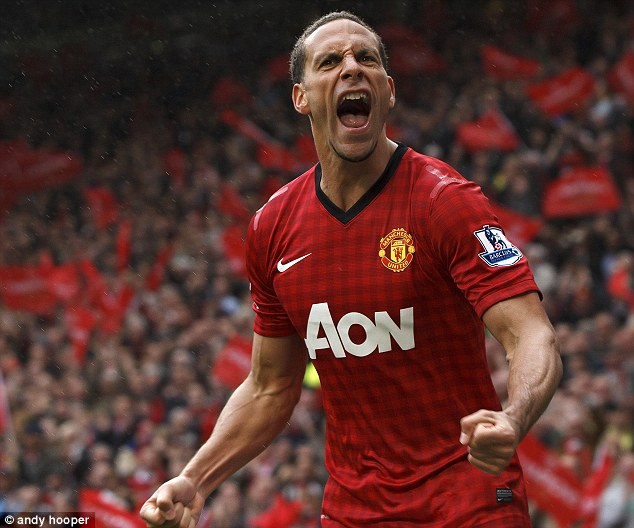 Ecstatic: Ferdinand scored his first goal since 2008 in Sir Alex Ferguson's final home game against Swansea