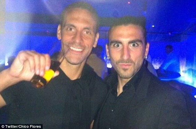 Defenders unite: Swansea's Chico Flores posted a snap taken with Rio in a Marbella club