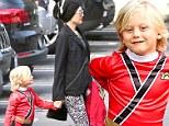 Fashion heroes: Gwen Stefani looks super stylish as she and her little Power Ranger run errands