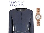 Watch, £25, riverisland.co.uk, Navy jacket, £225, jaeger.co.uk, Tan bag, £22.99, zara.com, Court shoes, £159, reiss.com