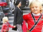 Fashion heroes: Gwen Stefani looks super stylish as she and her little Power Ranger run errands