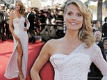 Heidi Klum goes back to the '80s in a retro gem-studded white gown at Cannes premiere of Nebraska