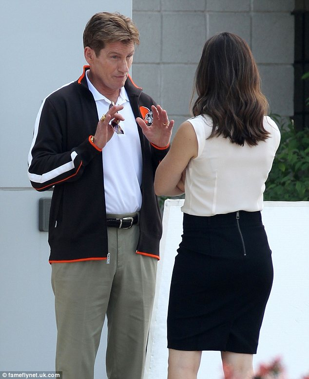 Tough talks: Jennifer was seen shooting scenes with her co-star Denis Leary