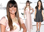 That's some pool party! Lea Michele wows in a blushing gown while Minka Kelly raises hemlines in black at the Beverly Hilton