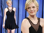 'I literally just cut it in your dressing room!' Elisabeth Moss delights in black dress as she chats about new blonde 'do on talk show