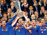 Up for the cup: Chelsea celebrate winning this year's Europa League after a 2-1 victory over Benfica