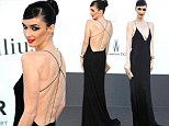 Paz Vega exposes her bony back in plunging black gown at amfAR event at Cannes
