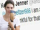 Kendall Jenner looks upset after being called an 'idiot' by Frances Bean Cobain on Twitter.