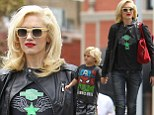 Matching: Gwen Stefani and her son Zuma coordinated their ensembles for their day out in Chinatown in Los Angeles, California on Friday