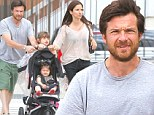 The farthest thing from the Bluths! Jason Bateman takes a walk in the park with wife and adorable kids