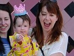 Making her point: Alyson Hannigan was delighted when daughter Keeva pointed out big sister Satyana at her first birthday party at Disneyland on Thursday