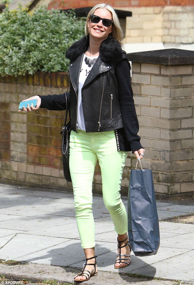 Chirpy: Denise Van Outen certainly looked in a good mood when she stepped out on Saturday