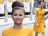 DWTS runner-up Zendaya Coleman stays sunny in mustard Prada dress for talk show circuit in Manhattan