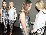 You look better...no YOU look better! Sophia Bush and Mena Suvari wear near identical jazzy trousers to Hollywood bash