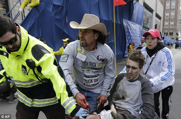 Help: The speed of first responders and volunteers on the scene helped save lives, like that of Jeff Bauman who was seriously injured in one of the blasts