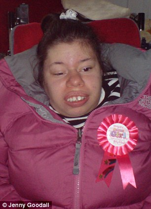 Cared for: Tina Papalabropoulos, 23, suffered from learning disabilities, epilepsy, a form of dwarfism and a severe curvature of the spine