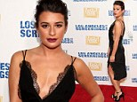 Forget your dress? Lea Michele turns up the heat in a Roberto Cavalli creation that looks more lingerie than red carpet ready