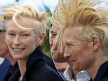 Tilda Swinton battles the wind at Cannes