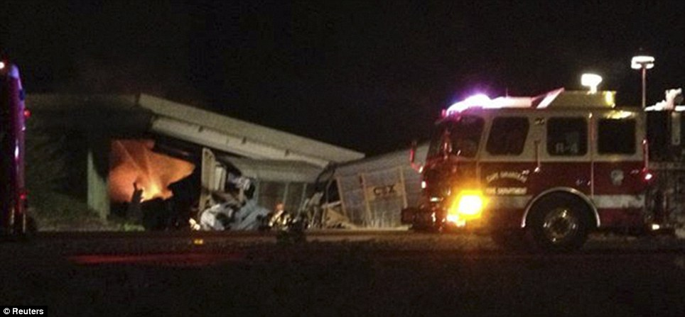 Blaze: Fuel leaking from one of the freight trains, ignited and caused a fire in the wreckage