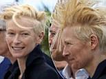 Tilda Swinton battles the wind at Cannes