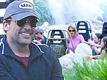 Family fun: Steve Carell took his wife Nancy Walls and kids, Elisabeth and John, out to Disneyland's Grizzly River Rapids in Anaheim, California on Saturday