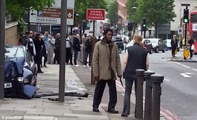 Michael Adebowale, of Greenwich, south-east London, at the scene where Lee Rigby was stabbed to death