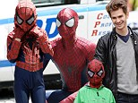 Spider-Man gets a mini-me! Andrew Garfield spins a web of fun with his young co-star Jorge Vegas on set of sequel