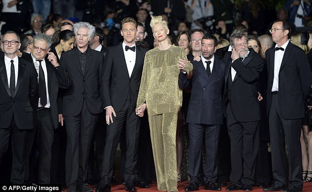 Certainly stands out! Tilda's outfit sparkled among a sea of black and navy suits