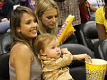 Courtside: Jessica Alba took her family to watch the Los Angeles Sparks play on Sunday afternoon