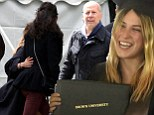 Scout Willis wraps her arms around stepmother Emma Hemming and toasts with dad Bruce after graduating... but her mother Demi Moore is nowhere to be seen