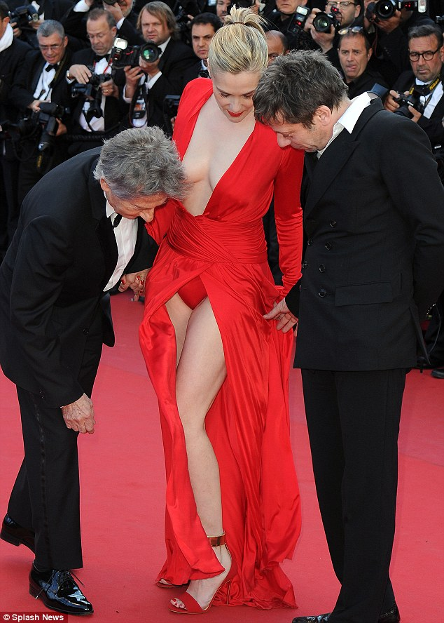 At least the actress was wearing underwear! The striking blonde opted for matching red pants