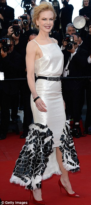 Ravishing: Nicole's black and white dress perfectly complemented her skin tone
