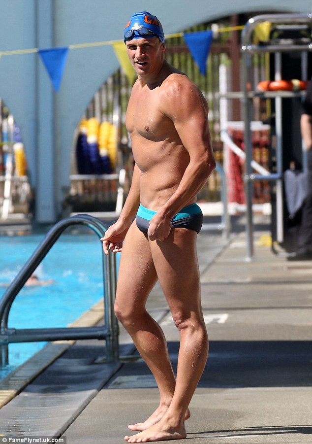 Well hello there! Ryan Lochte displayed his ripped body in tiny swimming trunks at a race in Vancouver, Canada on Saturday
