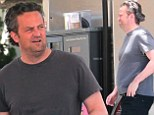 Losing it... Matthew Perry revealed his fuller figure in a grey T-shirt as he refuelled his car at the Chevron station in Malibu, California on Sunday