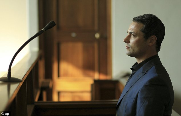 Tears: Carl Pistorius was told he was not negligent and that Maria Barnard was driving her motorcycle excessively fast when she crashed into the back of his vehicle in 2008