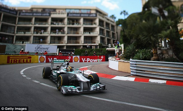 So near: Hamilton was just edged out for pole position by his Mercedes team-mate Rosberg