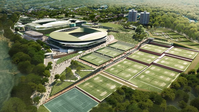 Changes: Centre Court had a new roof put on it in 2009, but this image shows what both would look like with one in place to battle Britain's summers