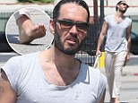 Hanging Loose! Russell Brand looks scruffy in baggy harem pants and no shoes as he attends a yoga class in LA
