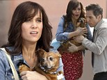 He's my hero! Kristen Wiig shows a LOT of leg as her three-legged dog is saved by Ben Stiller on the set of their new movie