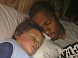 Father and son: Nick Cannon and his two-year-old son Moroccan enjoy a nap in a candid Twitter photo taken by Mariah Carey