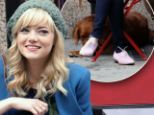 Take your dog to work day! Emma Stone hangs out with Ren between takes on The Amazing Spider-Man 2 set