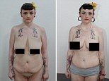 Thrilled: Hannah said she's bursting in confidence, left, now she has perkier breasts and her excess skin has been removed